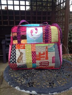 My scrappy Amy Butler Weekender Bag . Used the tutorial on Oh Fransson! blog