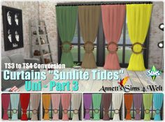 """Annett's Sims 4 Welt: Curtains """"Sunlite Tides"""" - Uni Part 3 - to Conversion The Sims, Sims 1, Sims 4 Windows, Sims 4 Clutter, Fluffy Rug, Sims 4 Update, Sims 4 Cc Finds, Sims Resource, Sims Mods"""