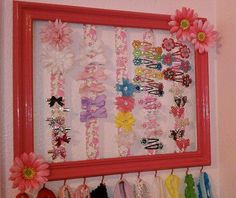 DIY headband and hair clip holder. Made from a photo frame!