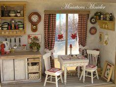 Dollhouse Miniature Navidad Cocina RoomBox Con el POR Minicler