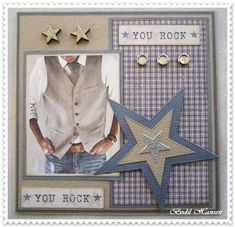 card for men, star vest you rock, communion confirmation, Maja design Denim and Friends paper pad Diy And Crafts, Paper Crafts, Marianne Design, Cards For Friends, My Scrapbook, Masculine Cards, Scrapbooking Layouts, Diy Cards, Cardmaking