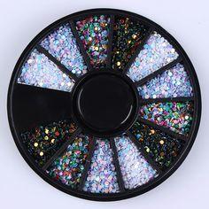 1 Caja de 1mm Color Mezclado Del Clavo 3D Decoración Colorida Decoración En Rueda de Obleas Redondas DIY Manicura Del Arte Del Clavo Accesorios