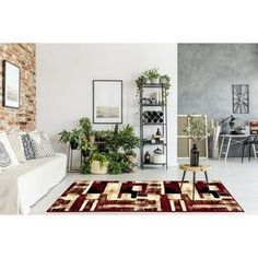 Buy Modern open space living room by bialasiewicz on PhotoDune. Open space living room on brick wall with plants and modern study space Samara, Modern Family Rooms, Open Space Living, Brown Carpet, Wooden Stools, Plant Shelves, Online Home Decor Stores, Online Shopping, Sweet Home