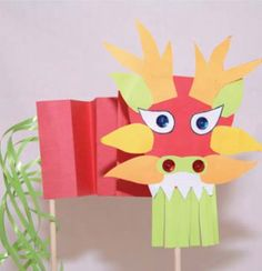 Free Dragon Puppet Template for a Chinese New Year Craft: Dragon Puppet, Dragon Kid, Dragon Mask, Preschool Arts And Crafts, Crafts For Kids, Chinese New Year Activities, Chinese New Year Crafts, Classroom Art Projects, New Year's Crafts