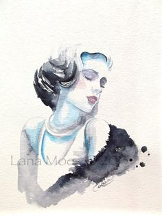 Fashion Illustration Watercolor Original Painting Titled: Dream A Little Dream