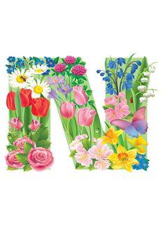 The Letter N ~ Spring Garden Alphabet Alphabet Style, Monogram Alphabet, Alphabet And Numbers, Birthday Logo, Birthday Cards, Letter Symbols, Floral Letters, All Flowers, Lettering Design