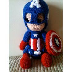 Captain America Avengers Marvel Crochet Doll (39 CAD) found on Polyvore