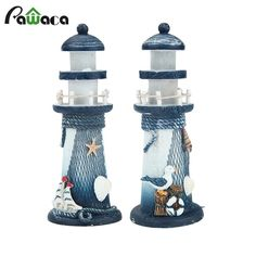 Mediterranean Style Lighthouse Figurines Wood Ornaments Conch Fishing Nets Lantern Home Decoration Creative Tower Craft Decor