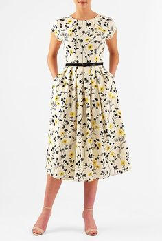 I <3 this Pleat neck belted floral print crepe dress from eShakti