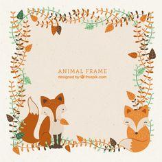 Frame decorativo com mão desenhada adoráveis raposas e folhas Vetor grátis
