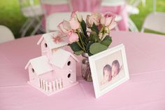 Beautiful Pink Bird Themed First Birthday Party - birdhouse centerpiece