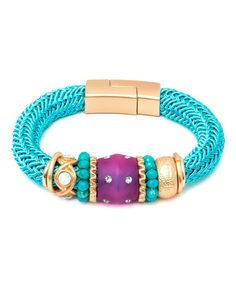 Loving this Turquoise Crystal & Gold Rope Mesh Magnetic Latch Bracelet on #zulily! #zulilyfinds
