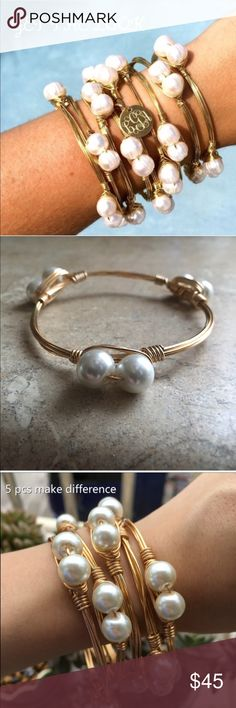 HANDMADE WIRED BANGLE RESERVED 4 @madisongwaltney HANDMADE WRIED BANGLE WITH FAUX PEARLS 14K YELLOW GOLD OVER ALLOY METALS ONE SIZE FITS MOST TOTAL OF 6 FOR MADISON BOUTUQUE Jewelry Bracelets