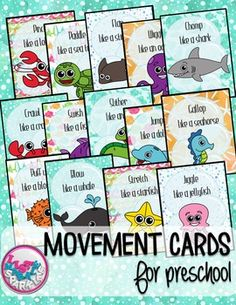 These ocean animals themed movement cards will keep your students active while they're excited for the weather to warm up! Keep those excited little ones busy indoors when it's too rainy to go outside! All while teaching them about different actions, animal names and improving their gross motor skills!