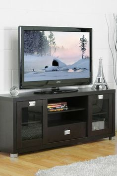 Matlock Modern TV Stand with Glass Doors - Dark Wenge by Non Specific on @HauteLook