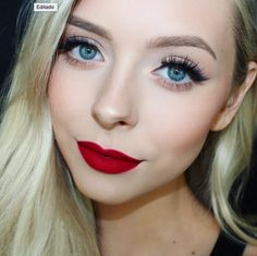 Red lips + blended liner - Cosmobyhaley