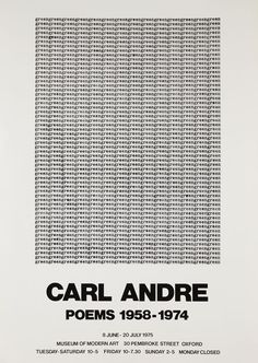 Carl Andre exhibition poster