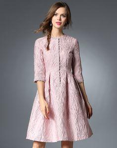 #AdoreWe #VIPme Skater Dresses - SFEISHOW Pink Lace Insert 1/2 Sleeve Skater Mini Dress - AdoreWe.com