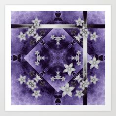 Art Print Silver flowers on purple and black textured mandala by Wendy Townrow on Society6