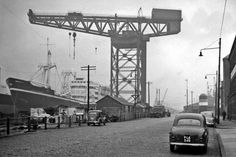 Old photograph of Finnieston Crane in Glasgow , Scotland . The Crane was commissioned in June 1928 by the Clyde Navigation Trust, the operat. Old Photographs, Old Photos, Bridge Engineering, Scottish People, Clydesdale Horses, Local History, Crane, Scotland, Tours
