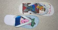 Flip Flopping for Art!: Students get into pairs. Each gets a flip flop. They come up with a theme/design/idea. They draw out the idea on paper first. Then draw on the shoes. Then the shoes are displayed and sold at the art show.