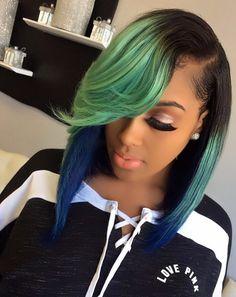 18 Shades of Hair Colorful Hair Show ♀ Love Hair, Gorgeous Hair, Amazing Hair, Sew In Hairstyles, Straight Hairstyles, Meagan Good, Hair Laid, Hair Shows, Green Hair