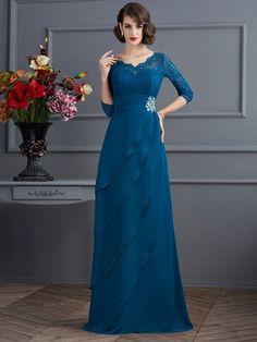 A-Line/Princess V-neck 3/4 Sleeves Floor-Length Chiffon Dresses DressyWell