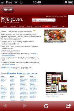 Big Oven (iPhone, iPad, Android, Android Tablet, Kindle Fire, NOOK, Windows Phone) gratuit - Creation de menu donne accès au site