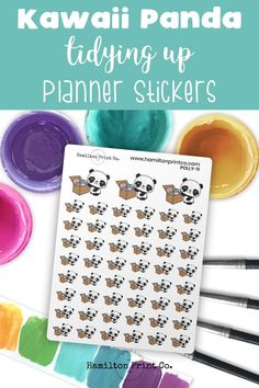 Kawaii Panda planner stickers. Stickers to remind you to tidy up your home. Or you could use them as rewards for your kids when they put away their toys. Cute Rainbow Unicorn, Kawaii Planner, Planner Supplies, Tidy Up, Small Shops, Bullet Journals, Erin Condren, Art Market, Journal Inspiration