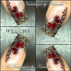 Cute and Romantic Valentine's Day Nail Art Designs Valentine's Day Nail Designs, Fingernail Designs, Creative Nail Designs, Beautiful Nail Designs, Beautiful Nail Art, Creative Nails, Gorgeous Nails, Fabulous Nails, Glam Nails