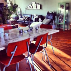 Our livingroom so far #vintage #schoolchairs #diy table #b #interior
