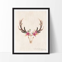 Check out this item in my Etsy shop https://www.etsy.com/listing/253912377/floral-deer-skull-print-boho-nursery