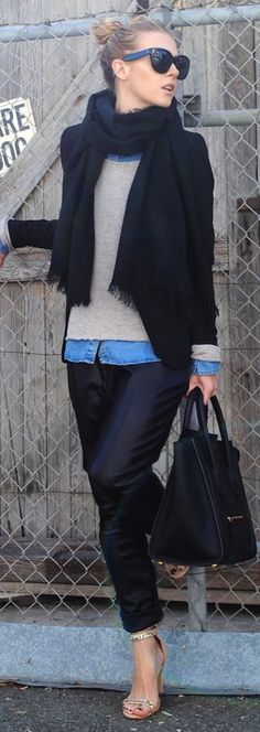 Fall / winter - street & chic style - layers - nude high heel sandals + leather pants + black scarf + black jacket + nude sweater + chambray shirt