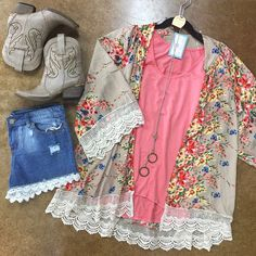 Florals, lace shorties, and cowgirl booties!!! What's not to love?! #shopTFL #TFLboutique #boutique #shopping #fashion #style #floral #cowgirl #boots #ootd #photooftheday