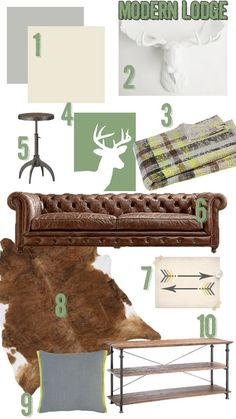 Modern Lodge Mood Board | Atkinson Drive: greens & browns give this rustic room a light and modern feel.