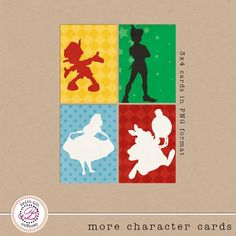 """FREEBIE!!!  Project Mouse """"More Character Cards"""" digital cards free from Britt-ish Designs!  ♥  Disney Digital Pocket Style scrapping!  Perfect for Project Life pages."""