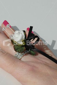 Elegant White Rose with Black Trims Designer Ring Corsage