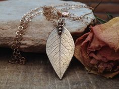 Bronze Hand Stamped-Nature Leaf Jewelry-Rose Pendant Necklace-Bronze Metal Clay-Rose leaf Jewelry (105.80 USD) by TinaStJohnJewelry