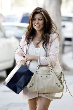 Kourtney Kardashian  Wearing, The Lightest Of Pinks Blazer And Matching  Shorts, Underneath An Off-White Shirt, And A Nude Bag To Go With! 2cd1c8a491