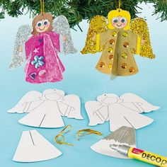 Create pretty 3D angel decorations - simply slot the two pieces of card together for stunning effects. Colour with Deco pens and add glitter for extra sparkle.