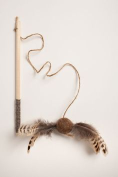 The Pheasant Birch Wand // Interactive Feather Cat Toy // Felted Feather Ball on Natural Birch Rod