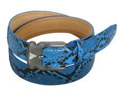 Blue lucid python belt for women