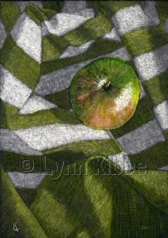 Apple on Fabric, scratchboard, original sold, prints available