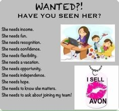 Are you her? Go to www.youravon.com/melissahcox and click on join now or go to www.startavon.com and use reference code melissahcox