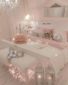 21 Cozy Decor Ideas With Bedroom String Lights is part of Girly Room Decor Ideas - Mesmerizing decoration ideas with bedroom string lights can be found in our photo gallery Discover our ideas for interior and exterior and get inspired Girly Bedroom Decor, Cute Bedroom Ideas, Cute Room Decor, Girl Bedroom Designs, Bedroom Colors, Wall Decor, Girl Bedroom Decorations, Bedroom Decor Ideas For Teen Girls, Wall Lamps