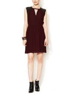 Crepe Dress with Etched Leather Accents | Cynthia Vincent