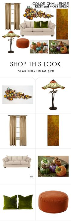 """rust and moss room decor"" by artfulhome ❤ liked on Polyvore featuring interior, interiors, interior design, home, home decor, interior decorating, Susan Madacsi, Royal Velvet, Tim Harding and Signature Design by Ashley"