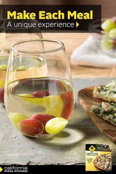 Bake up some White Crispy Crust Thin Pizzas with ricotta cheese, garlic cream sauce and leafy green spinach for a main course. Add additional toppings such as fresh tomatoes, rotisserie chicken or prosciutto for an extra zest.  Mix white wine with frozen grapes for a great cocktail to toast your friends.