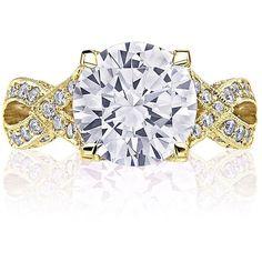 Tacori HT2606RD10 RoyalT Diamond Ribbon Yellow Gold Engagement Setting ($8,990) ❤ liked on Polyvore featuring jewelry, ribbon jewelry, gold diamond jewelry, tacori jewelry, tacori and gold jewellery