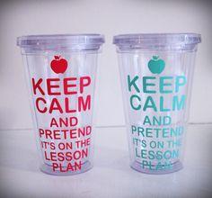 Custom 16 oz Keep Calm Teacher Appreciation by ThePinkWalrus